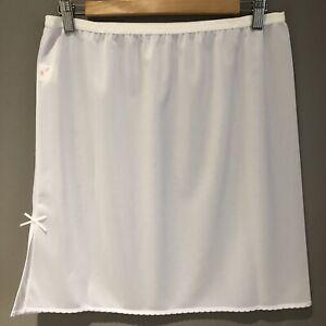 """New WHITE Mini Waist Half Slip Petticoat Underskirt Sz 18 Above Knee Length 18"""""""