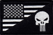 USA FLAG w/PUNISHER SKULL, BLACK & WHITE - ARMY - COMBAT - MORALE- IRON ON PATCH