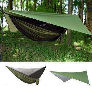 Camping Hammock With Mosquito Net + Rain Cover Tent Tarp Waterproof Outdoor Mat