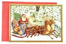 Deluxe Traditional Card Advent Calendar - Kris Kringle Father Christmas Sleigh