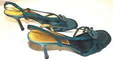 NEW ROBERTO VIANNI UK 5 EUR 38 TURQUOISE DIAMANTE ANKLE STRAP PARTY SANDALS 3¼""