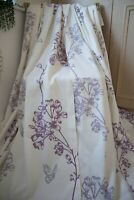 OFF WHITE PURPLE GREY FLORAL & BUTTERFLIES COTTON EYELET CURTAINS,46WX54D,LINED