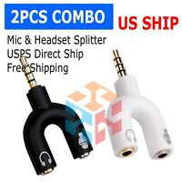 (2-Pack) 3.5mm Stereo Audio Male to 2 Female Headphone Splitter Cable Adapter