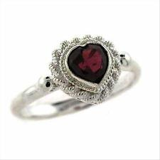 925 Silver Garnet Vintage Heart Ring Size 8
