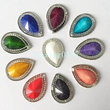50PCS mix 18*25mm crack Resin Drop Flatback Rhinestone Wedding 2 hole Buttons