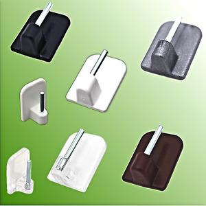 4,6,8,10,20 x Gardinenhaken Klebe- Haken selbstklebend Weiß Transparent Braun