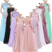 Women Ladies Bridal Embroidered Chiffon Bridesmaid Long Dress Wedding Party Gown