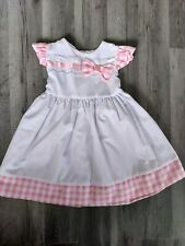 Baby Girl Dress NEW 12-18 months white pink checked bow pretty summer party