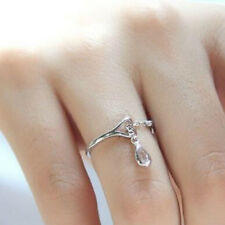 Gifts Girl Fashion Women Wedding Silver Plated Adjustable Size Jewelry Ring