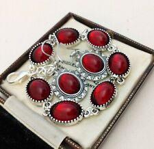 Vintage - Ruby Red Glass Small Oval Cabochon Bracelet Earring Set