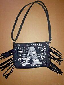 💥 Justice Girl's Black Fringe Silver Initial A Shoulder Bag Crossbody Purse New