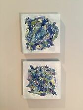 abstract acrylic painting set of 2 canvases