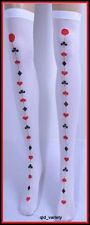 Womens QUEEN of HEARTS Thigh High SOCKS STOCKINGS Alice Wonderland Costume Party