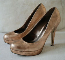 BARRATTS HIGH HEELS PARTY EVENING COPPER GOLD SNAKE SKIN PRINT SHOES 5 UK