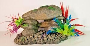Rock Formation Cave with Plants Aquarium Fish Tank Decoration Resin GRAY LARGE