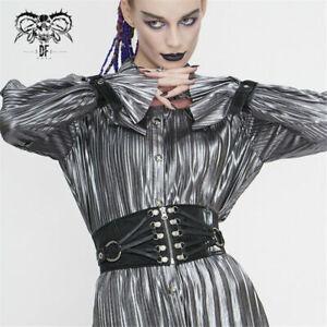 Punk Women Slim Zipper Up Black Leather Drawstring Decoration Adjustable Girdle