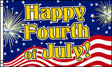 3x5 Ft Happy 4th Fourth Of July Flag Business Advertising Sign Banner - bf