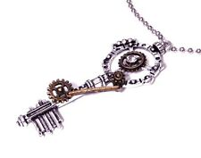 STEAMPUNK SKELETON KEY NECKLACE silver bronze gears clockwork pendant chain Z6