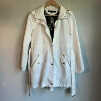 Kenneth Cole Womens Trench Coat White Zip Up Pockets Snaps Mock Neck Belted XS