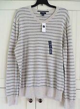 GAP Men Size M Light Cream Gray Striped V-Neck Sweater $45 NEW