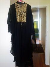 Islamic abaya with work modesty clothing dress Dubai/UAE Black/gold  Embellished