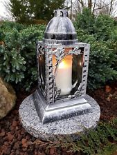 Grablaterne & Sockel & Kerze Grablampe Grableuchte Granit Grablicht Grabstein