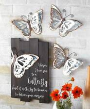 Galvanized Butterfly Wall Set of 3 Hanging Metal Wings Nature Décor