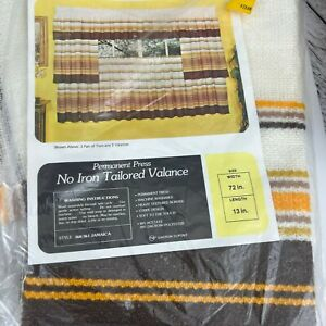 Vintage 1970s  Kmart  Yellow Brown Gold Stripe Tailored Tier Curtains NOS