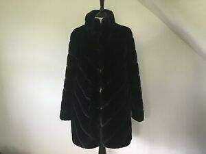 Ladies Black Faux Fur Coat By Calvin Klein UK 6-8  ( XS ) BNWOT !