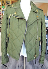 Burberry Brit 100% Polyester Quilted Olive Green Short Coat  Size L
