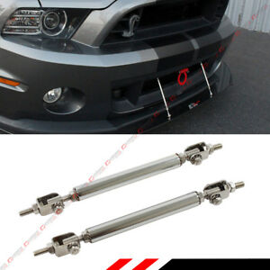 Chrome Adjustable Front Bumper Lip Splitter Strut Rod Tie Support Bar For Chevy