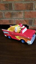 M&M Red & Yellow Ceramic Car Candy Dish with Red driving and Yellow as passenger