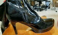 """Black Patent Leather/Latex, 4"""" High Heel, Knee Length Boots, w/ zippers US 9/10"""