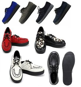 MENS WOMENS FLAT PLATFORM TEDDY BOY LACE UP GOTH PUNK CREEPERS SHOES BOOTS SIZE