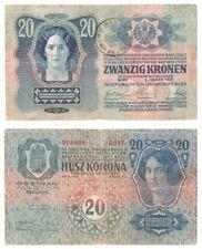 ROMANIA 20 Kronen Banknote (1919) Treasury Provisional issue - Pick ref: R4.