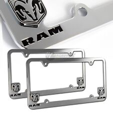 2X Dodge RAM Logo Chrome Metal License Plate Frame Officially Licensed