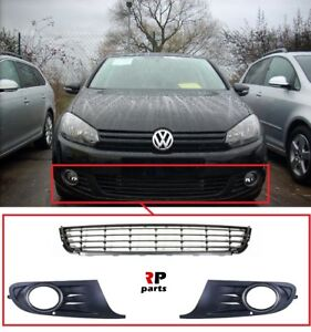 FOR VW GOLF VI 2009 - 2013 FRONT BUMPER FOGLIGHT GRILLE PAIR WITH CENTER GRILLE
