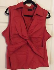 New York & Company Rust Colored Wrap Front Collared Shirt sz 18 Women Sleeveless