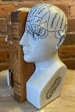 Pair of Phrenology Head Bookends - Ceramic Porcelain - White - Free Delivery