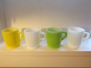 Lot 4 Vtg Fire-King Stackable Ribbed bottom milkglass mugs
