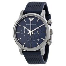 Emporio Armani Classic Silver/Blue Leather Quartz Men's Chronograph Watch AR1736
