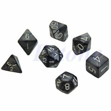 7pcs Black Sided Dice D4 D6 D8 D10 D12 D20 Dungeons&Dragon D&D RPG Poly Game Set