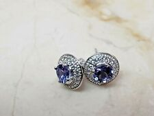 Colleen Lopez 1ct Tanzanite & White Zircon Sterling Silver Stud earring HSN $150