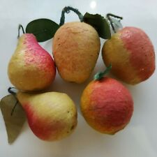 Set of 5 fruits antique Russian Christmas spun cotton ornament USSR