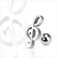 "16g 1/4"" Music Note Treble Clef Cartilage Tragus Ear Earring Barbell"