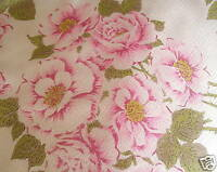 Shabby PINK ROSES chic VINTAGE DRAPE fabric PANEL