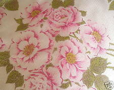 Shabby PINK ROSES chic VINTAGE DRAPE fabric PANEL