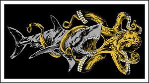 GIANT SHARK vs. MEGA OCTOPUS metallic ink silkscreen print by Tim Doyle/Nakatomi