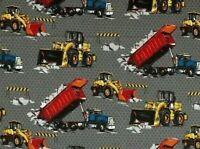 FAT QUARTER COTTON FABRIC CONSTRUCTION TRUCKS  WORK ZONE MACHINERY BULLDOZER  FQ