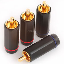 8 Large Diameter Phono Plugs - Solder RCA Audio Connectors Gold Plated PHOPLU01